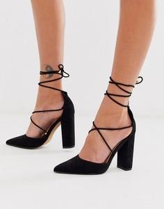 Черные туфли на высоком блочном каблуке с завязками ASOS DESIGN-Черный