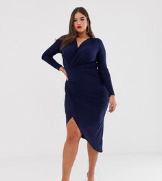 Платье с запахом и перекрученной отделкой Club L London Plus-Темно-синий