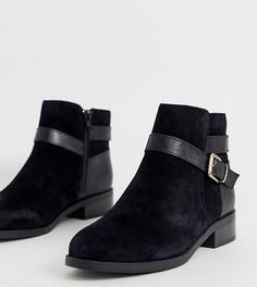 Черные замшевые ботинки на плоской подошве и с пряжками New Look Wide Fit-Черный