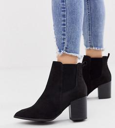 Черные ботинки челси на каблуке из искусственной замши New Look Wide Fit-Черный