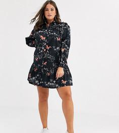 Платье-рубашка мини с контрастным принтом коней ASOS DESIGN Curve-Мульти