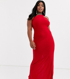 Красное платье макси на одно плечо Club L London Plus-Красный
