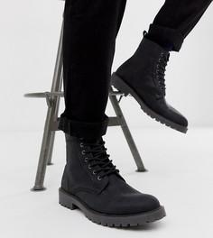 Черные кожаные ботинки для широкой стопы со шнуровкой и массивной подошвой ASOS DESIGN-Черный