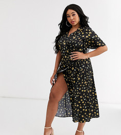 Платье миди с запахом и принтом Never Fully Dressed Plus-Мульти
