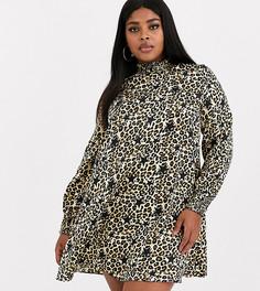 Свободное платье с леопардовым принтом и звездами Simply Be-Мульти