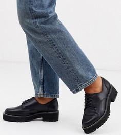 Черные туфли на плоской подошве для широкой стопы с цепочками ASOS DESIGN-Черный