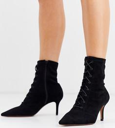 Черные ботинки для широкой стопы на шнуровке и каблуке-рюмочке ASOS DESIGN - Respect-Черный