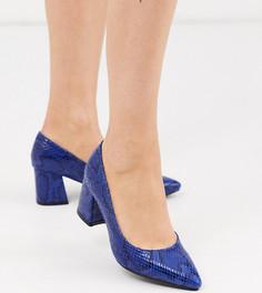 Синие туфли-лодочки на блочном каблуке с отделкой под змеиную кожу для широкой стопы Simply Be-Черный