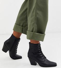 Ботинки в стиле вестерн для широкой стопы на каблуке London Rebel-Черный