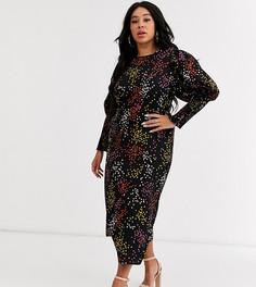 Платье миди в горошек с присборенными рукавами Never Fully Dressed Plus-Мульти