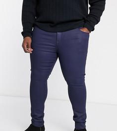Синие супероблегающие строгие джинсы с покрытием ASOS DESIGN Plus-Синий