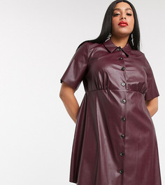 Бордовое платье-рубашка мини из искусственной кожи ASOS DESIGN Curve-Красный