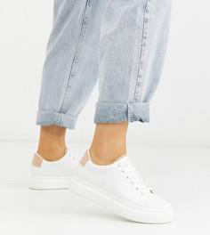 Бело-бежевые кроссовки для широкой стопы на шнуровке ASOS DESIGN-Мульти