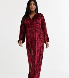 Бархатное платье макси на пуговицах с длинными рукавами ASOS DESIGN Curve-Красный
