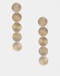 Золотистые серьги-подвески с круглыми элементами Topshop-Золотой