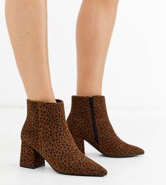 Ботинки с леопардовым принтом на блочном каблуке Simply Be extra wide fit-Коричневый