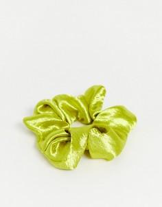 Лаймово-зеленая атласная резинка для волос Topshop-Зеленый