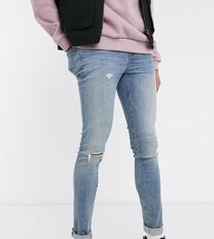 Синие супероблегающие джинсы с состаренной отделкой ASOS DESIGN Tall-Синий