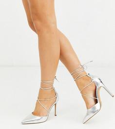 Серебристые туфли для широкой стопы на каблуке-шпильке с завязками ASOS DESIGN-Серебряный