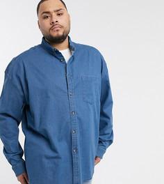 Классическая джинсовая рубашка с пуговицами под рог ASOS DESIGN Plus-Синий