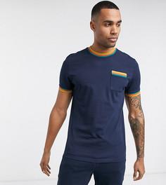 Темно-синяя футболка от комплекта с карманом и кантом контрастного цвета ASOS DESIGN Tall-Темно-синий