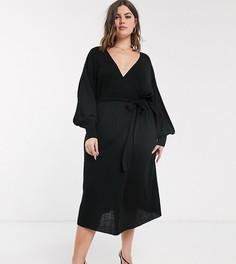 Трикотажное платье с запахом и объемными рукавами ASOS DEISGN Curve-Черный