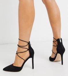 Черные туфли на каблуке с завязкой Public Desire Wide Fit-Черный