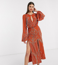 Платье миди с отделкой и пышными рукавами на манжетах ASOS DESIGN Tall-Темно-синий