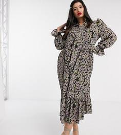 Трапециевидное платье макси с цветочным принтом Never Fully Dressed Plus-Мульти