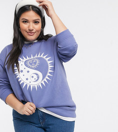 Oversized-свитшот с принтом Daisy Street Plus-Фиолетовый