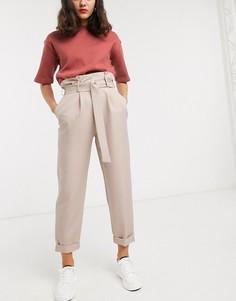 Зауженные брюки верблюжьего цвета с D-образным кольцом ASOS DESIGN-Бежевый