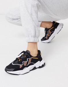 Черные/оранжевые кроссовки adidas Originals Ozweego-Черный