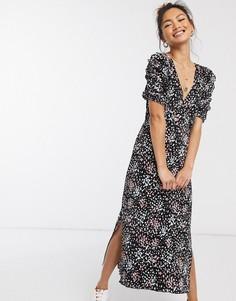 Черное платье миди с плиссировкой Miss Selfridge-Черный