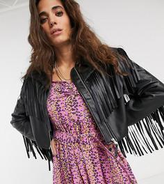 Черная куртка из искусственной кожи с бахромой Reclaimed Vintage inspired-Черный