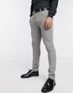 Серые супероблегающие брюки из ткани с добавлением шерсти ASOS DESIGN wedding-Серый