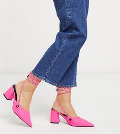 Ярко-розовые туфли на каблуке для широкой стопы ASOS DESIGN-Розовый
