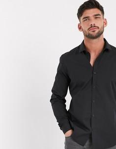 Черная рубашка с длинными рукавами Topman-Черный