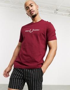 Красная футболка с вышивкой Fred Perry-Красный