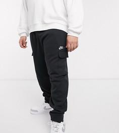 Черные джоггеры карго с манжетами Nike Club Plus-Черный
