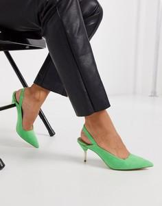 Зеленые туфли на каблуке-рюмочке с ремешком на пятке ASOS DESIGN-Зеленый