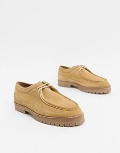 Бежевые замшевые туфли на шнуровке House of Hounds-Бежевый