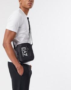 Черная сумка через плечо на молнии с логотипом Armani-Черный EA7