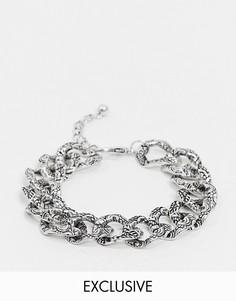 Массивный браслет цвета состаренного серебра с тиснеными звеньями Reclaimed Vintage-Серебряный