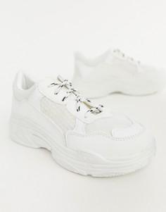 Белые кроссовки на массивной подошве Public Desire-Белый