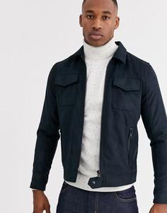 Темно-синяя куртка из искусственной замши Jack & Jones Premium-Темно-синий
