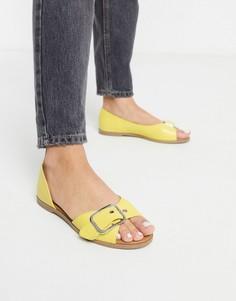 Летние туфли желтого цвета на плоской подошве Qupid-Желтый