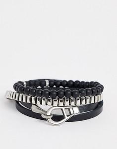 Черный браслет Icon Brand-Серебряный