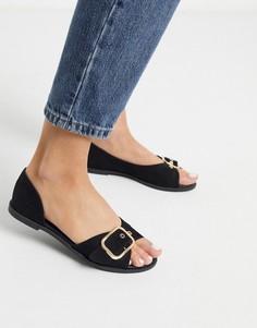 Черные летние туфли на плоской подошве Qupid-Черный