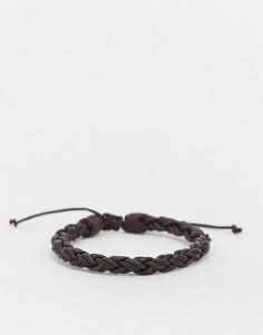 Коричневый плетеный кожаный браслет Classics 77