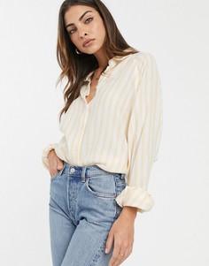 Рубашка бойфренда в полоску горчичного цвета с длинными рукавами ASOS DESIGN-Мульти
